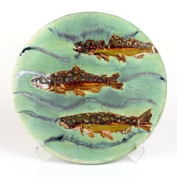 Ken Sedberry, Trout Platter stoneware, wood-fired, 19""