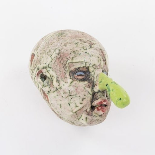 "Tom Bartel Tom Bartel, Head with Green Nose, 7x5.5x7"""