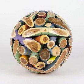 "Roger Asay and Rebecca Davis Roger Asay & Rebecca Davis, Painted Sphere, elm, 7"""