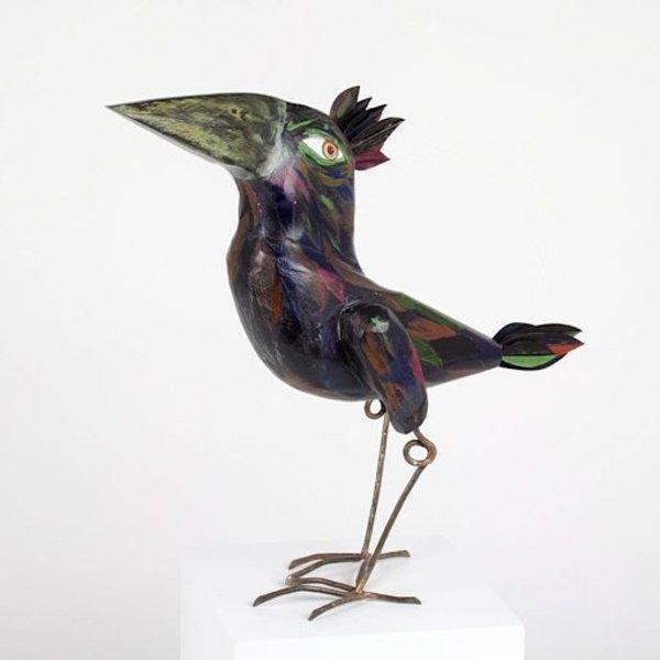 """Tom Hill, Large Black Bird, wood, steel, 12.5"""" x 4.5 x 15"""""""