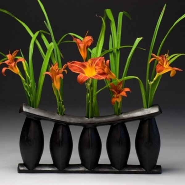 "Jerilyn Virden, African Pillow Vase, Black, handbuilt earthenware, 16"" l x 3.5"" w x 7.75""h"