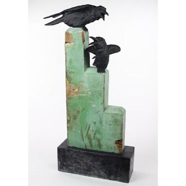 """Christine Kosiba, Two Ravens, stoneware, underglaze, oxides, stain, terra sigillata, vintage architectural piece, metal base, 27 x 14 x 11"""""""