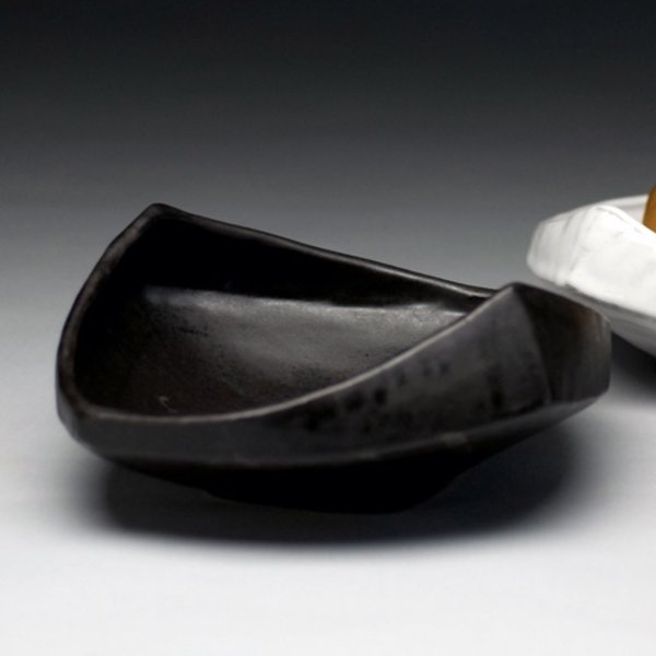 "Jerilyn Virden, Appetizer Tray, Black, handbuilt earthenware,  13.25"" l x 12""w x 3.5""h"