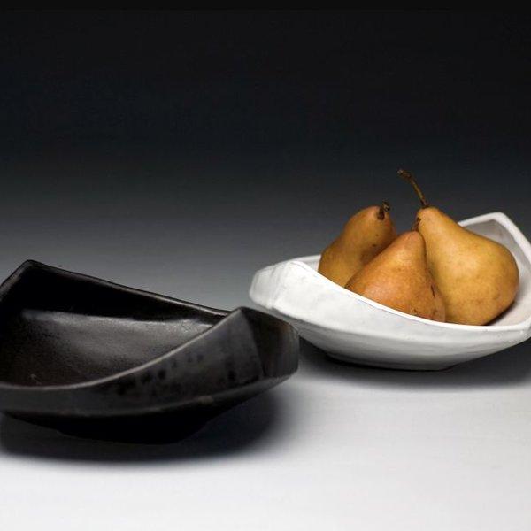 """Jerilyn Virden Jerilyn Virden, Appetizer Tray, Black, handbuilt earthenware,  13.25"""" l x 12""""w x 3.5""""h"""
