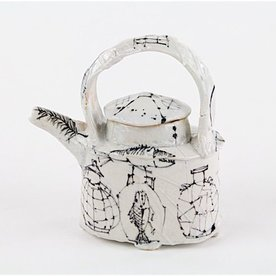 Ted Saupe Ted Saupe,  Small Tea Pot, earthenware, 4.75 x 4.25 x 2""