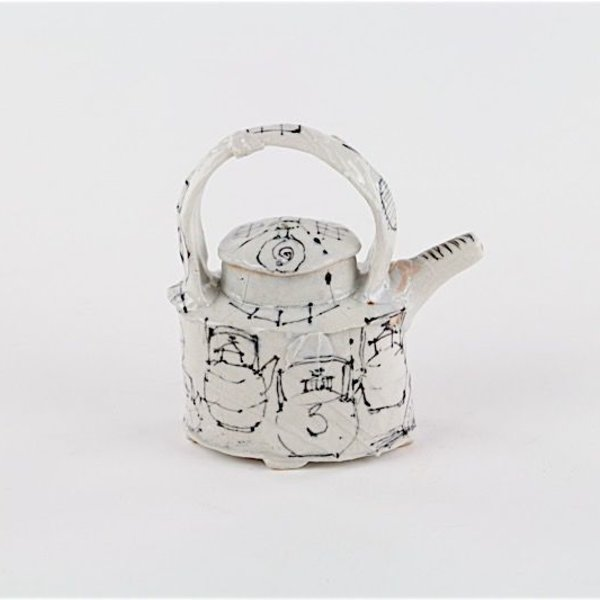 """Ted Saupe Ted Saupe,  Small Tea Pot, earthenware, 4.75 x 4.25 x 2"""""""