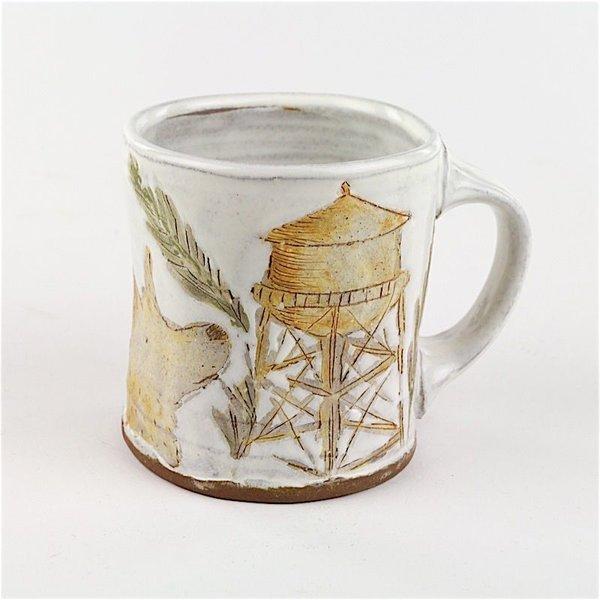 "Juana Gnecco, Mug, earthenware, glaze, 3.75 x 4.5 x 3.5"""