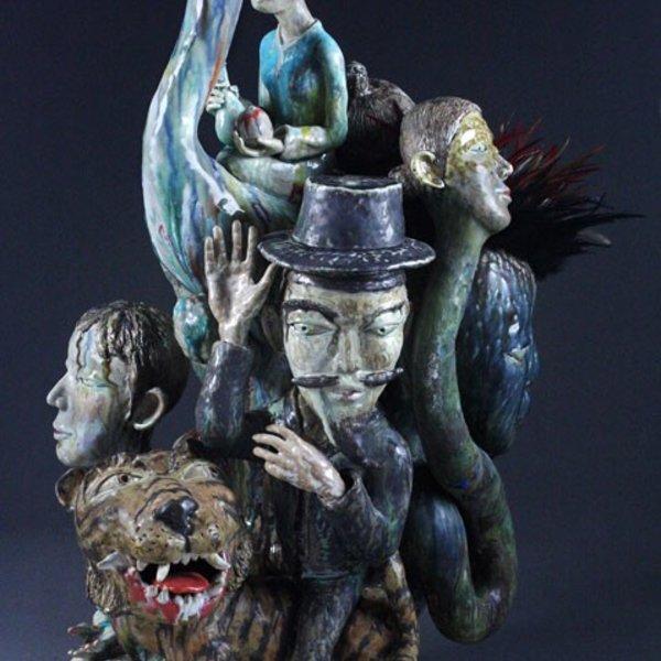 "Sunkoo Yuh, Crane Rider, Porcelain, Glaze, Cone 10, 34"" x 18"" x 17"" (2010)"