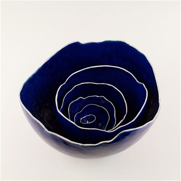 Kate Tremel Kate Tremel, Blue Nest Bowls, Six Pieces, 6.5 x 10 x 9.25""