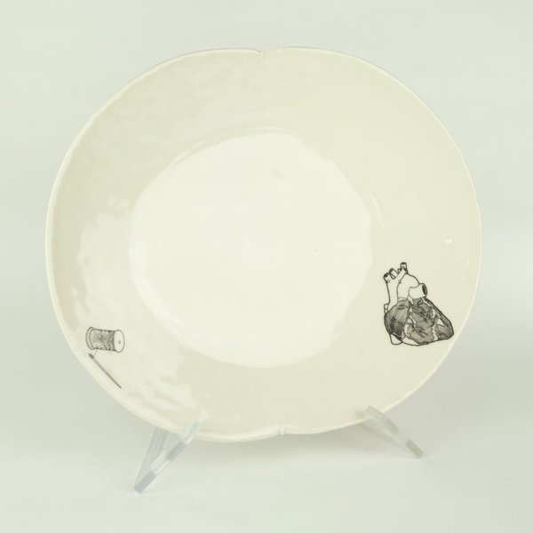 David Eichelberger David Eichelberger, Dinner Plate with Heart & Needle, porcelain, glaze, iron oxide decal, 1.75 x 12 x 10""