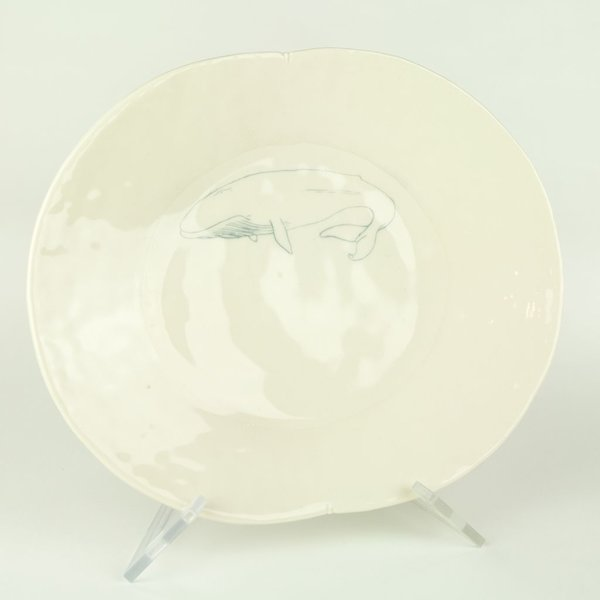 David Eichelberger David Eichelberger, Dinner Plate with Whale, Porcelain, glaze, high iron oxide decal, 1.75 x 12 x 10""