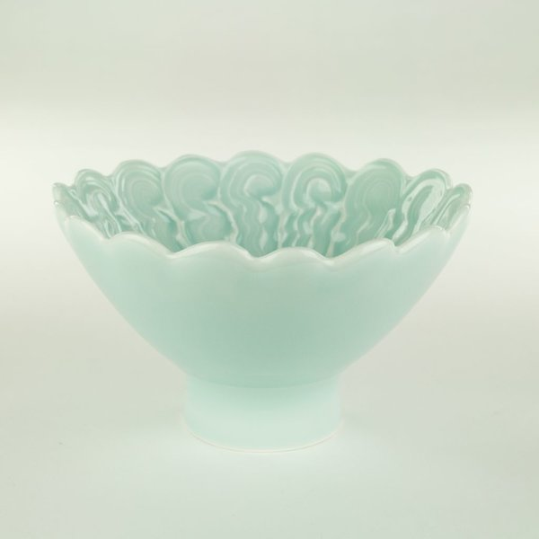 "Derek Au Derek Au, Bowl, porcelain, slip, glaze, 3.75 x 6.25"" dia"