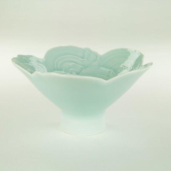 "Derek Au Derek Au, Bowl, porcelain, slip, glaze, 3.75 x 7"" dia"