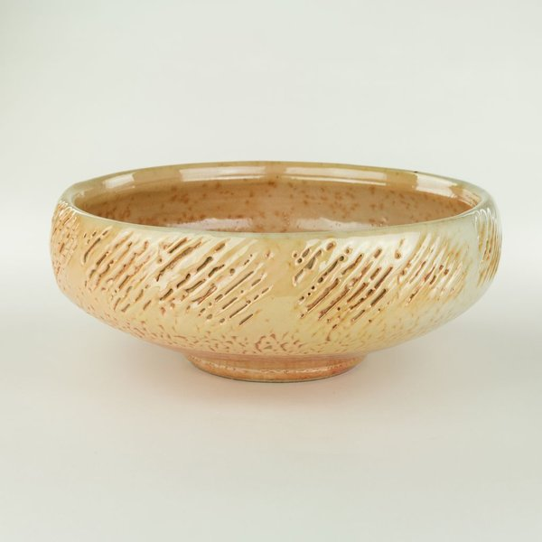 "Geoff Pickett, Bowl, woodfired, 4.5 x 11.5"" dia"