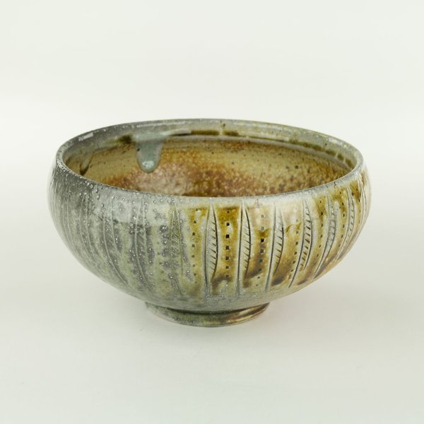 "Geoff Pickett, Bowl, woodfired, 3.75 x 7.5"" dia"