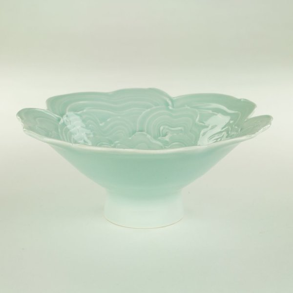 "Derek Au Derek Au, Bowl, porcelain, slip, glaze, 3.25 x 7"" dia"