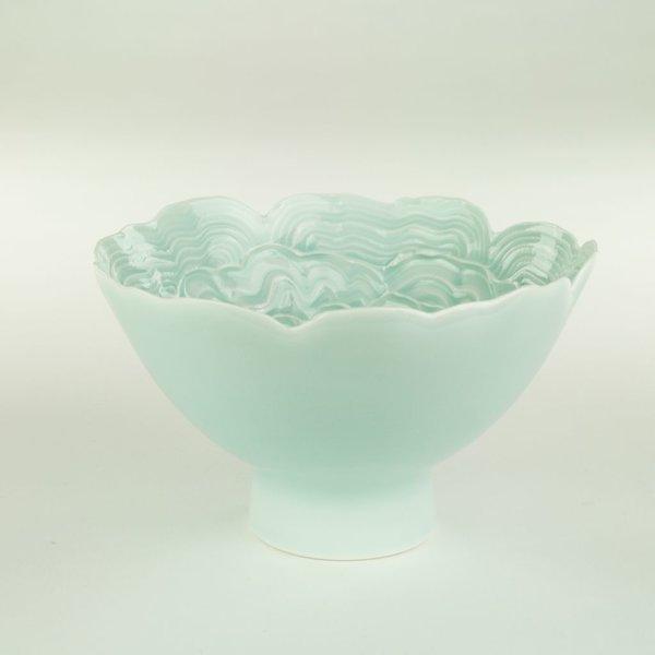 "Derek Au Derek Au, Bowl, porcelain, slip, glaze, 3.75 x 6"" dia"