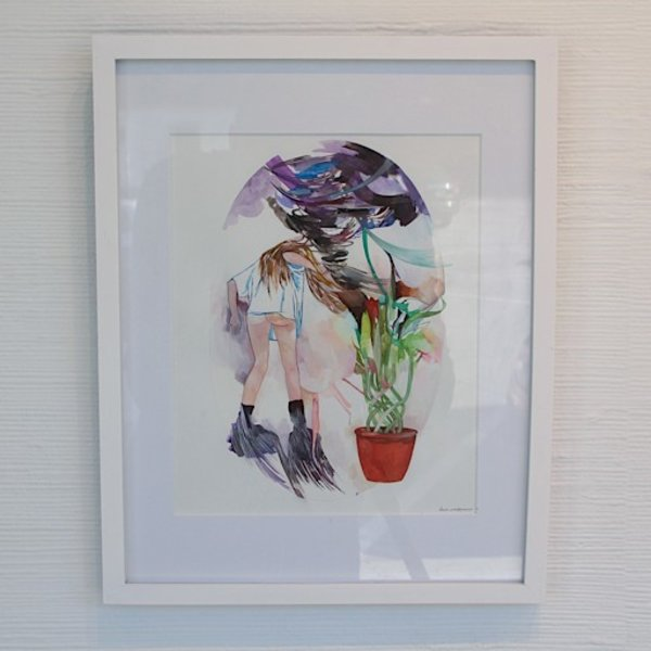 "Lauren Gallaspy, Twister, gouache and watercolor on paper, 15 x 12 x .75"" framed"