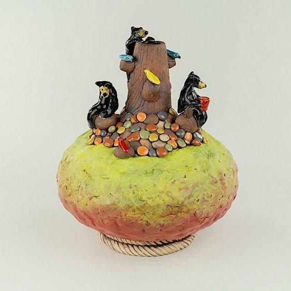 "Barry Gregg Barry Gregg, Large Panorama Bear Vase, handbuilt earthenware, glaze, 10 x 8.5"" dia"