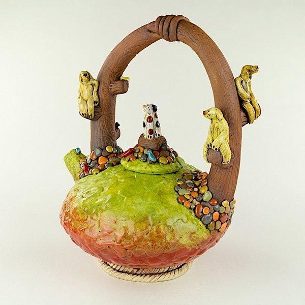 "Barry Gregg Barry Gregg, Large Panorama 4 Dog Teapot, handbuilt earthenware, glaze, 13.5 x 11.5 x 8.5"""