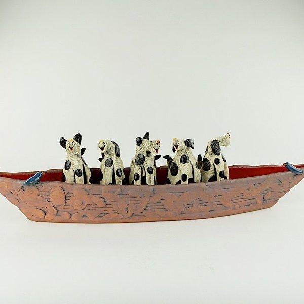 "Barry Gregg Barry Gregg, ""5 Spotted Dog"" Bark Ark, handbuilt earthenware, glaze, 5.5 x 22.5 x 4.25"""