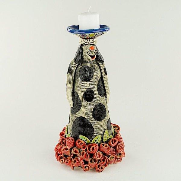 "Barry Gregg Barry Gregg, ""Rosebud"" Candlestick, handbuilt earthenware, glaze, 10.5 x 5.5"" dia"