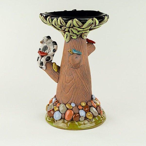 "Barry Gregg Barry Gregg, Dog Panorama Candlestick 1, handbuilt earthenware, glaze, 8.75 x 5.5"" dia"