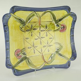 Posey Bacopoulos Posey Bacopoulos, Rectangular Scalloped Dish, majolica, gold lustre