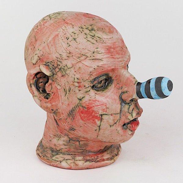 """Tom Bartel Tom Bartel, Doll Head w/Blue Stripe Nose, 7.5 x 5.5 x 7.5"""""""