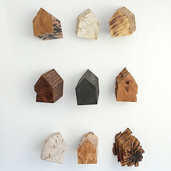 "Jack Slentz, House Series, Set of Nine, various woods, 25.5 x 16 x 6"" deep"