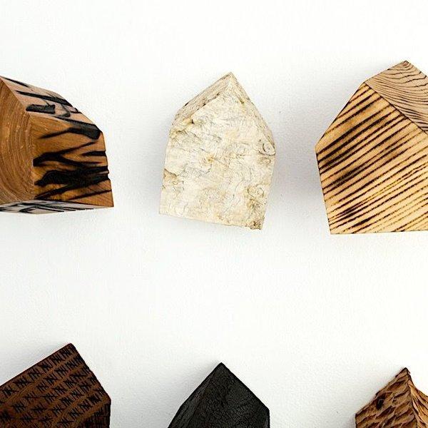 "Jack Slentz, Small House, individual, various woods, 4 x 6 x 6"" deep"