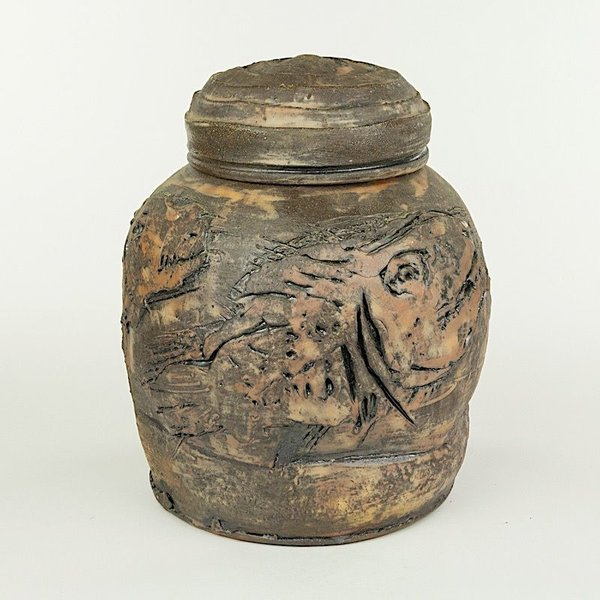 """Ron Meyers Ron Meyers, Carved Jar with Fish, earthenware, 11.5 X 9.25"""""""