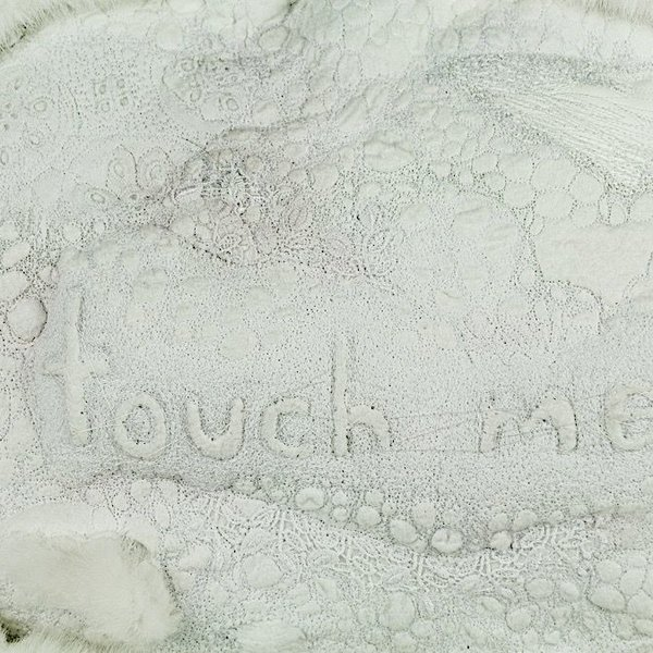Leisa Rich Leisa Rich, TOUCH ME, free motion stitching, vintage lace, faux fur, thread, fabric