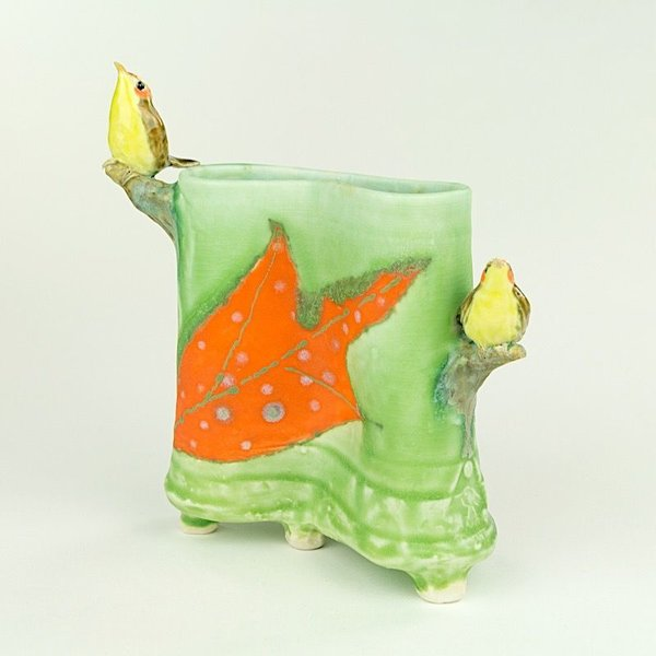 Lucy Dierks Lucy Dierks, Envelope Vase with Orange Capped Warblers, porcelain, glaze, 6.25 x 5.5 x 2.5""