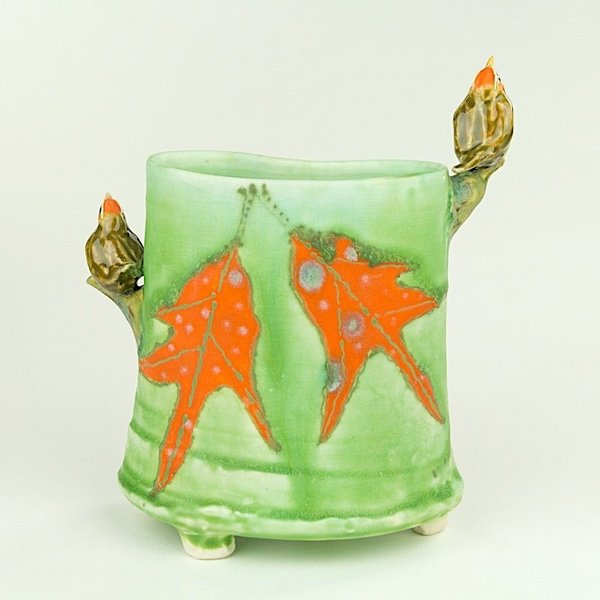 """Lucy Dierks Lucy Dierks, Envelope Vase with Orange Capped Warblers, porcelain, glaze, 6.25 x 5.5 x 2.5"""""""