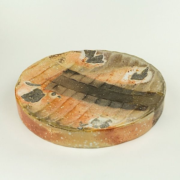 "Nancy Green, Round Hollow Form Tray or Wall Piece, soda fired , 1.75 x 12"" dia"