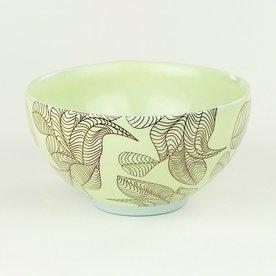 "Andrew Gilliatt Andrew Gilliatt, Leaf Bowl porcelain, glaze, laser transfers, 3 x 5.75"" dia"