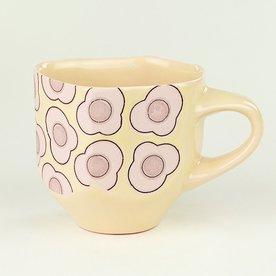 """Andrew Gilliatt Andrew Gilliatt, Fried Egg Mug, porcelain, glaze, laser transfers, 4 x 5.5 x 4"""""""