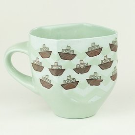 "Andrew Gilliatt Andrew Gilliatt, Boats Mug, porcelain, glaze, laser transfers, 4 x 5.5 x 4"""