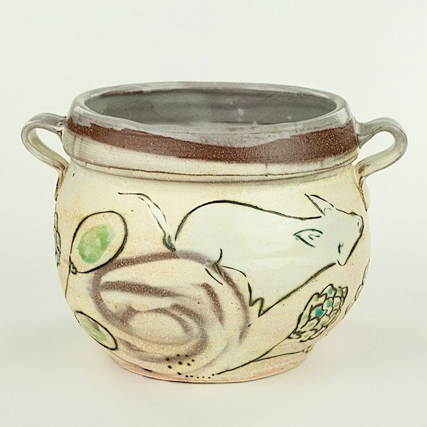 "Maria Dondero Maria Dondero, Oval Jar with Handles, 6 x 8.25 x 6.25"""