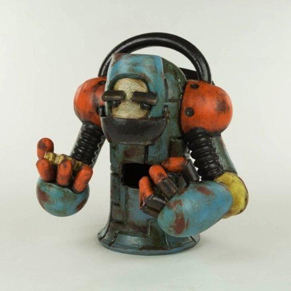 "Michael Klapthor Michael Klapthor, Tin Man Robot, ceramic, glaze, 9 x 8.5 x 7.5"""