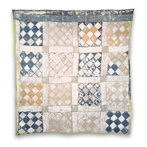 """Rachel Meginnes, Reconstruction, vintage quilt top, commercial cloth, acrylic, stitched, sanded 75 x 70"""""""