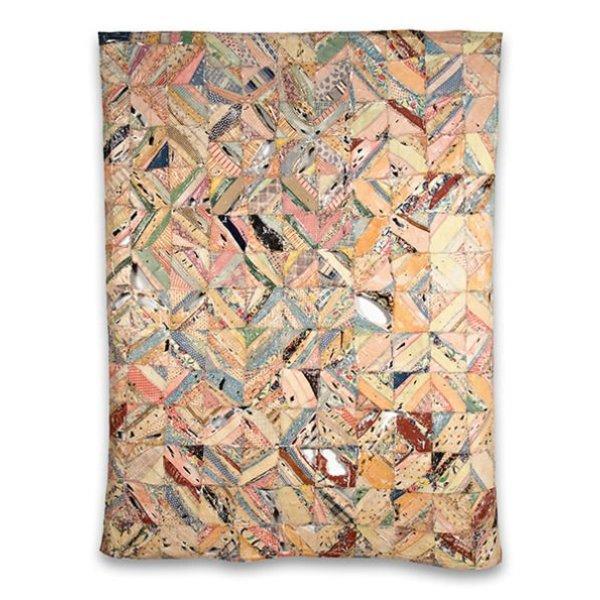 "Rachel Meginnes, Ragged Top, vintage quilt top, acrylic, 89 x 69"""