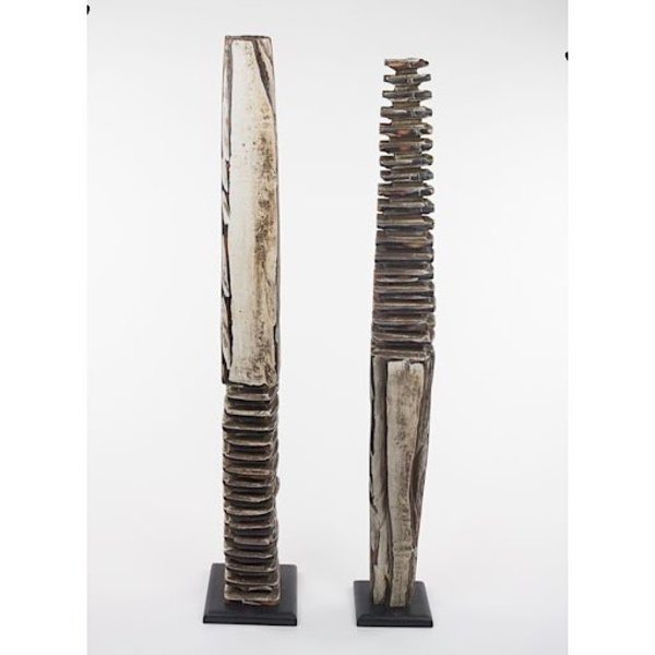"""George Peterson George Peterson, Totem I, carve, painted cherry, 29.25"""""""