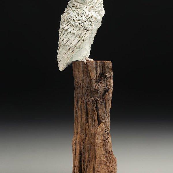 """Christine Kosiba Christine Kosiba, Counsel (Owl), stoneware, underglaze, oxides, stain, terra sigillata, 21.5 x 5 x 6.5"""""""