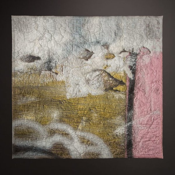In-Cahoots Jess Jones, Street Calligraphy 1, digitally printed cotton, silk, lace, machine quilted, embroidered,