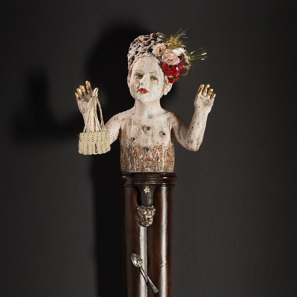 In-Cahoots Kirsten Stingle, Surprise Party, porcelain stoneware, underglazes, slips, stains, antique found objects, 66 x 14 x 9""