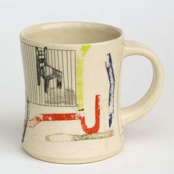 Mark Errol, Coffee Cup, porcelain, slip, mishima, decals, 4 x 4.75 x 3.5""