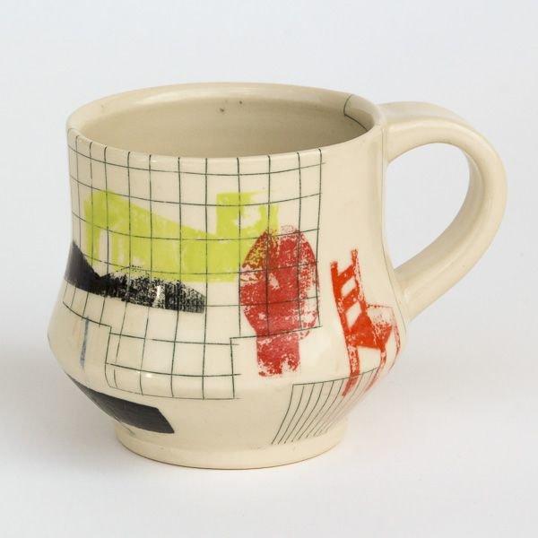 "Mark Errol, Coffee Cup, porcelain, slip, mishima, decals, 3.5 x 5 x 4"""