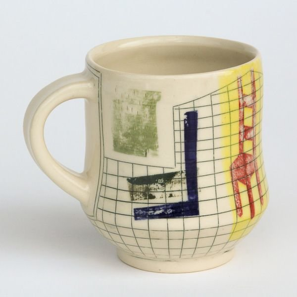 Mark Errol, Coffee Cup, porcelain, slip, mishima, decals 3.75 x 4.75 x 3.75""